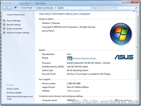 Asus X2101E sistem