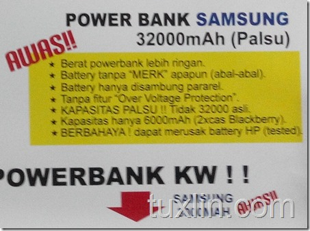 Ciri ciri power bank Samsung Palsu