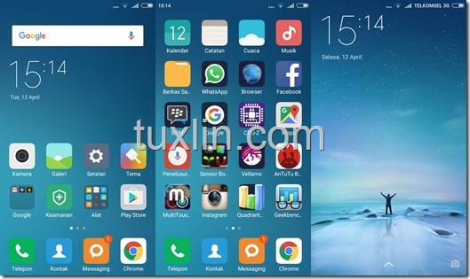 Tampilan Antarmuka Xiaomi Redmi 3