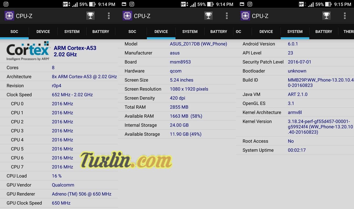 CPU-Z Asus Zenfone 3 ZE520KL