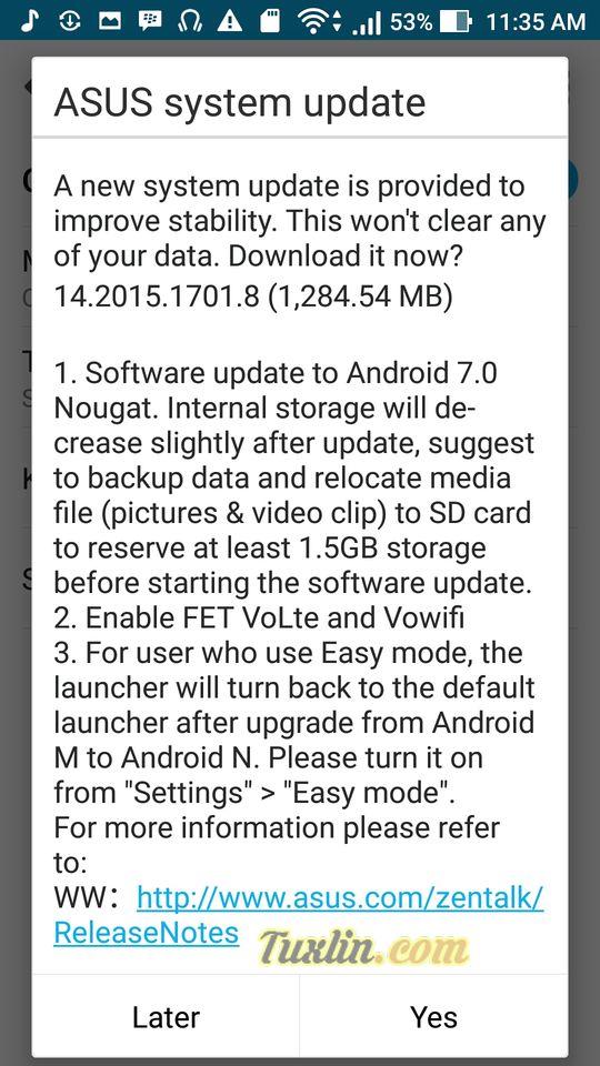 Langkah Update Android 7.0 Nougat di Asus Zenfone 3