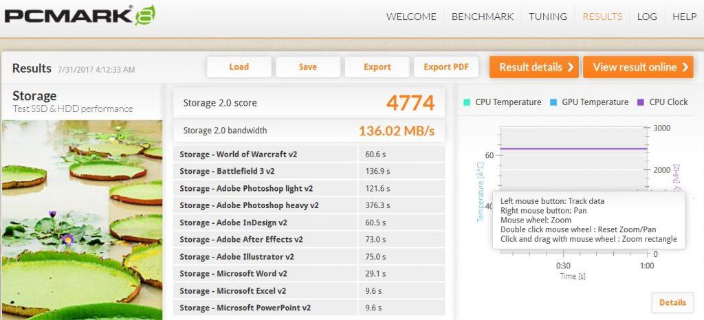 Benchmark PCMark Asus Zenbook Pro UX550